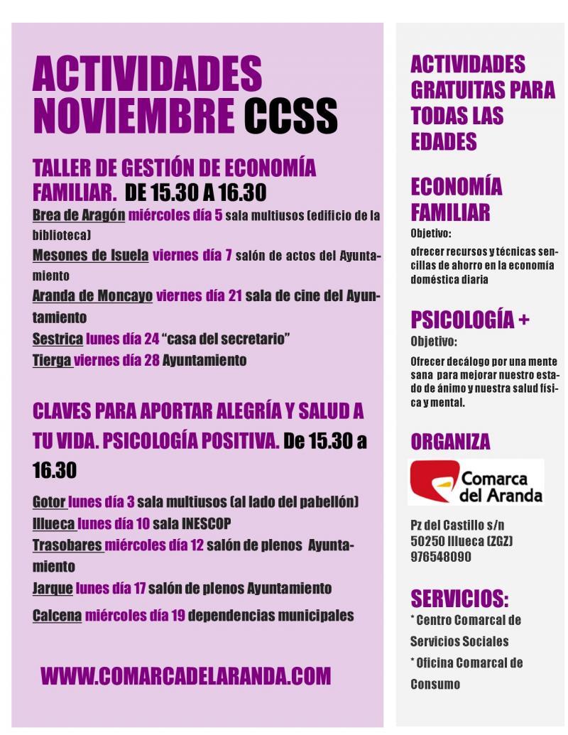 Actividades Noviembre Centro Comarcal de Servicios Sociales y Oficina de Consumo