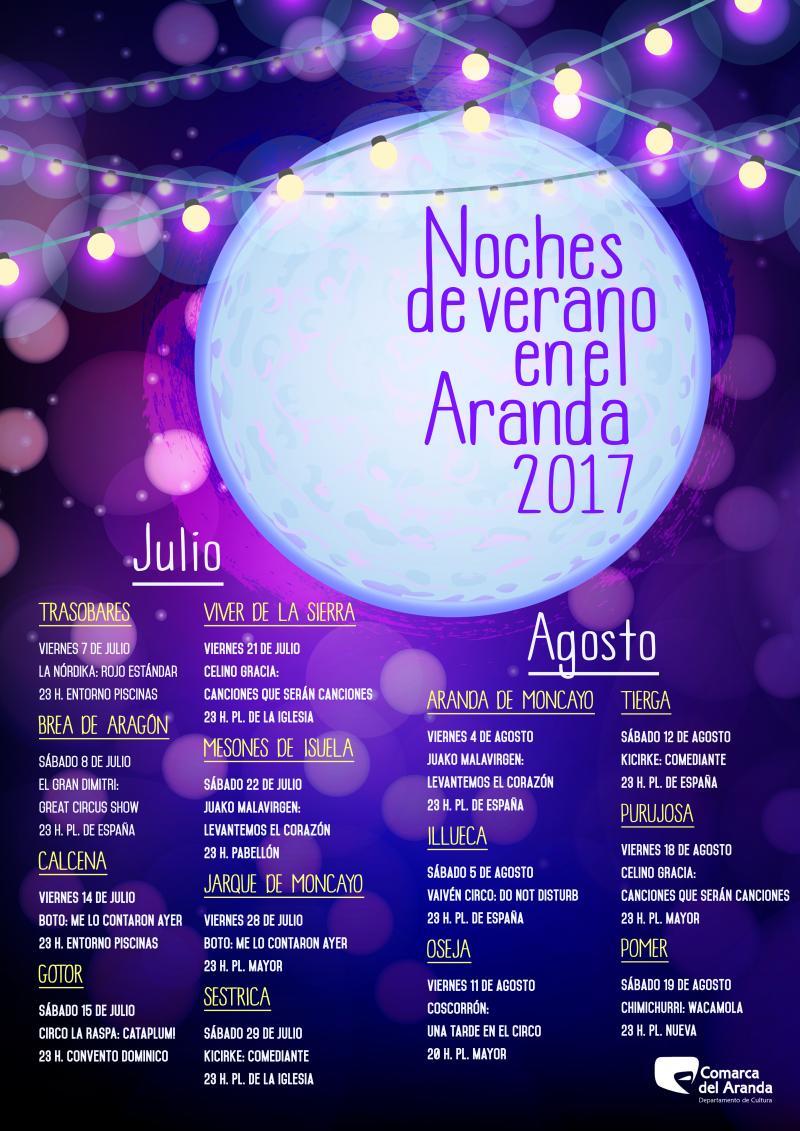 Noches de Verano  en el  Aranda 2017. Hoy  viernes en Jarque y mañana sábado en Sestrica