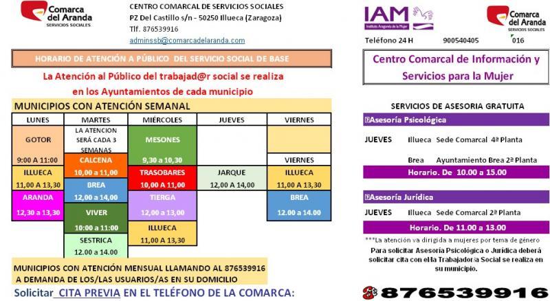 Horarios centro Social